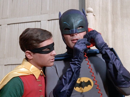 Batman and Robin on Batphone in premiere